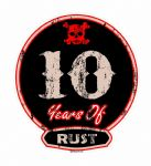 Distressed Aged 10 Years Of Rust Motif For Retro Rat Look VW etc. External Vinyl Car Sticker 100x90mm